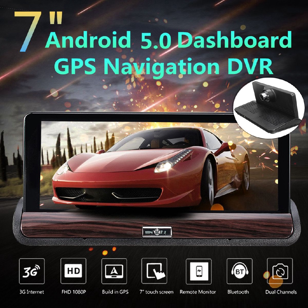 "GPS Navigator WIFI 7/"" HD 1080P Android Car Dual Camera Rear View DVR Recorder"