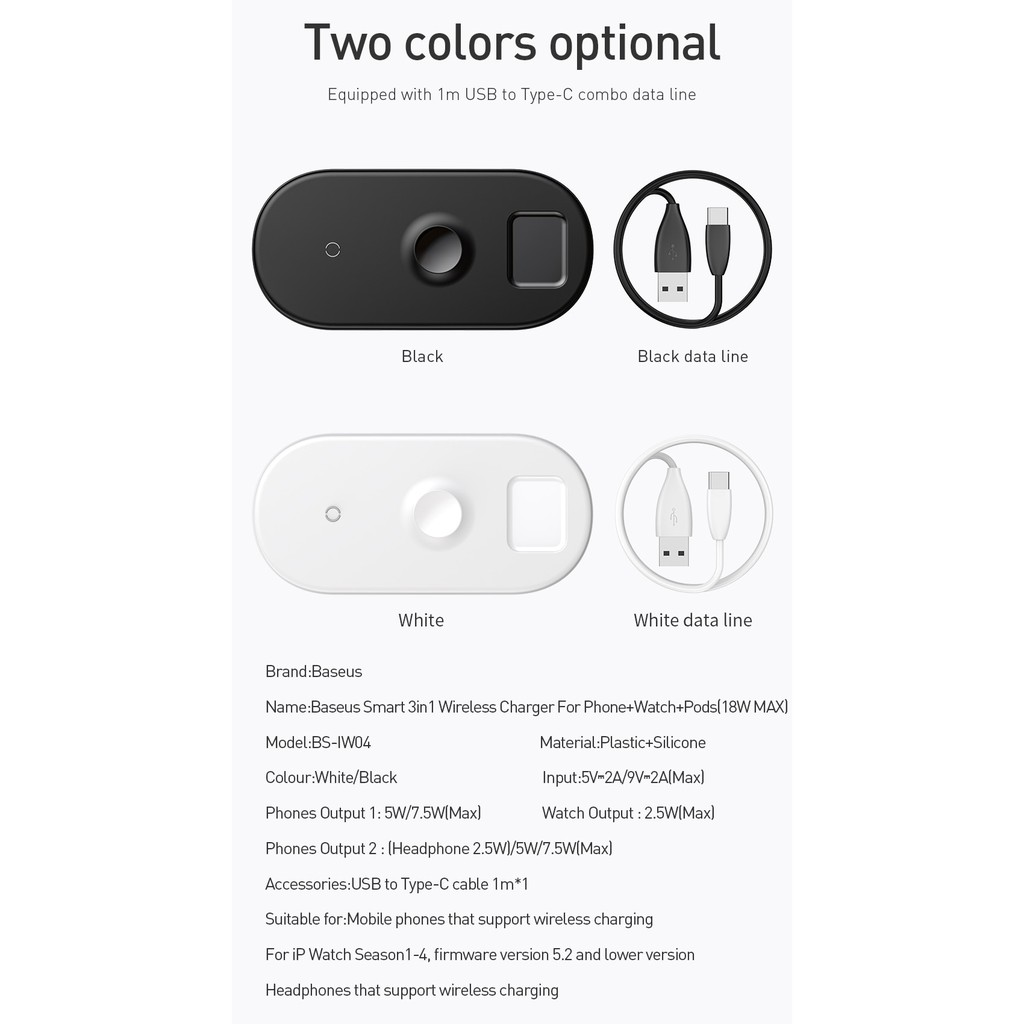 Baseus Wireless Charger 3 in 1 Airpods + iWatch + Phone