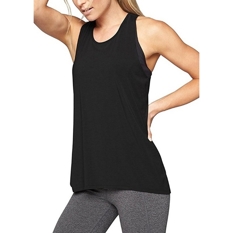 New Women/'s Racer Back Yoga Tank Top 100/% Cotton Solid Sports Gym Fitness S,M,L