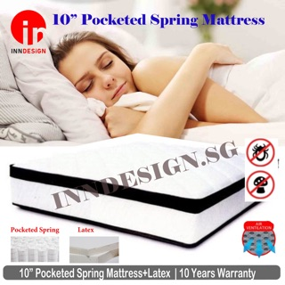 """Essential 10""""/ 9"""" Pocketed Spring /Euro Top Mattress With Add On Bedframe  Available [All SIZES) 