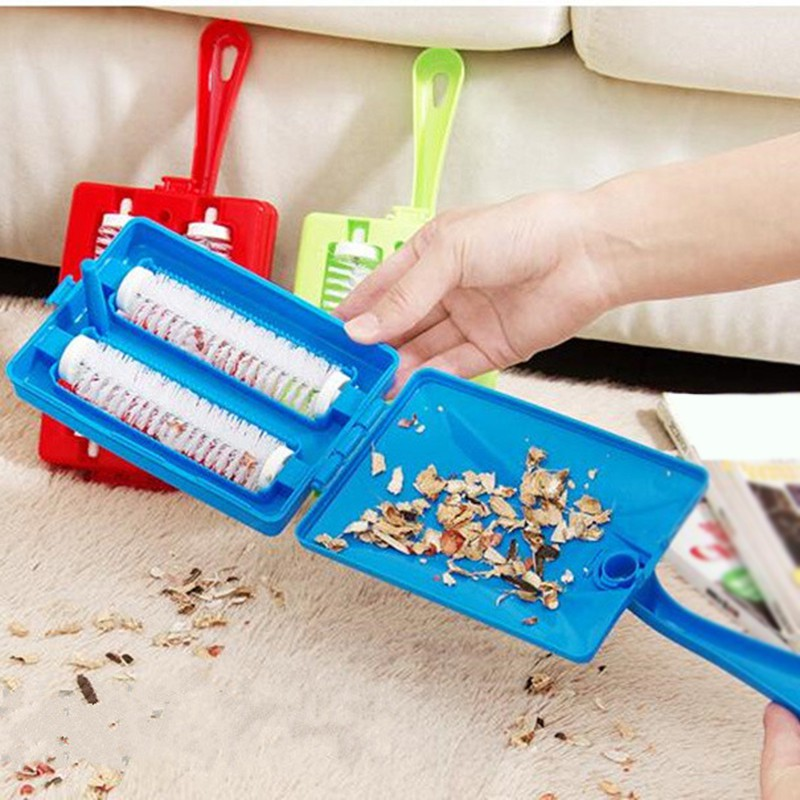 2 Pc Handheld Carpet Table Sweeper Crumb Dirt Fur Brush Cleaner Collector Roller