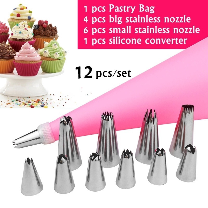 Silicone Large Cream Pastry Icing Bag Piping Cake Decorating Tools UV