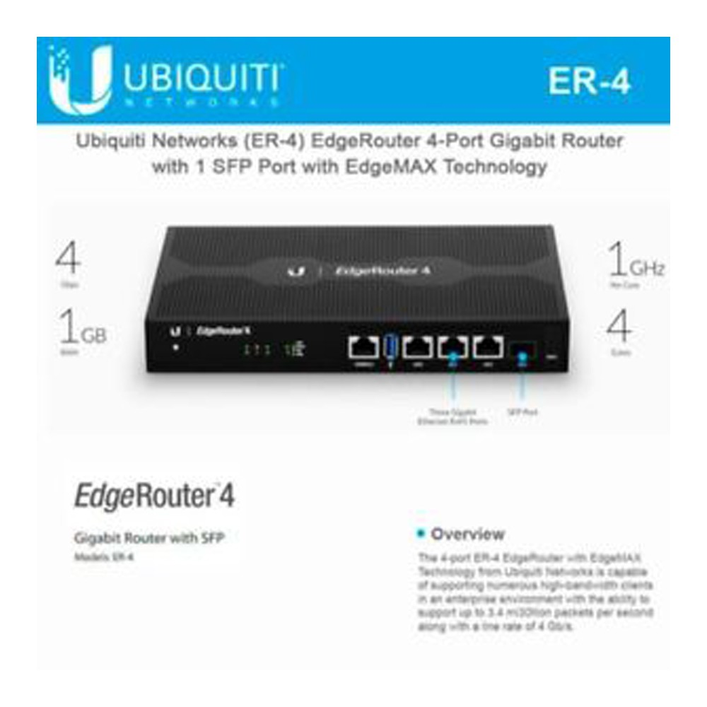 Ubiquiti ER-4 4Port EdgeRouter4 with 1 SFP Port | Shopee