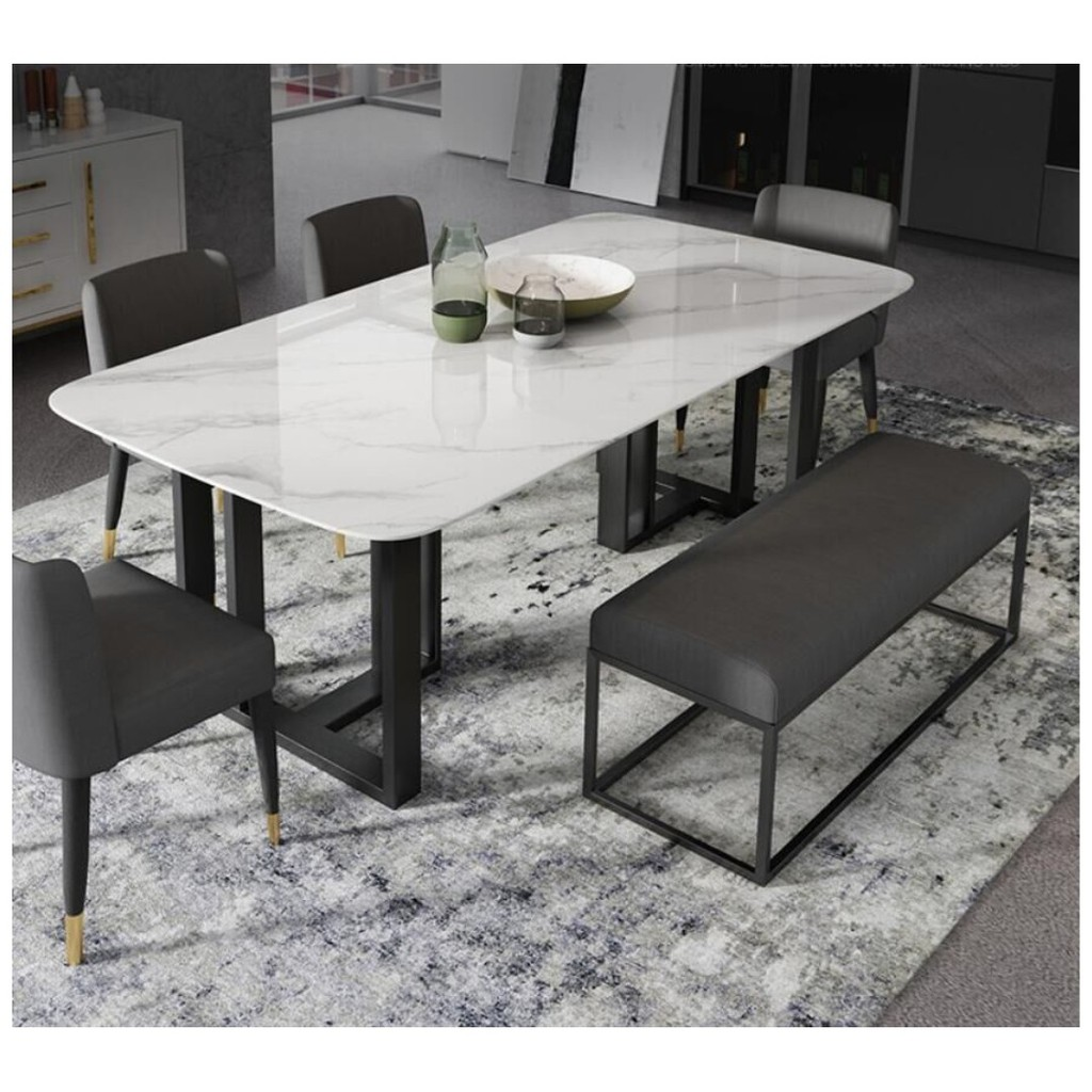 Tmdt 16 Csc 041 Marble Dining Table Chair Bench W Cushion Shopee Singapore