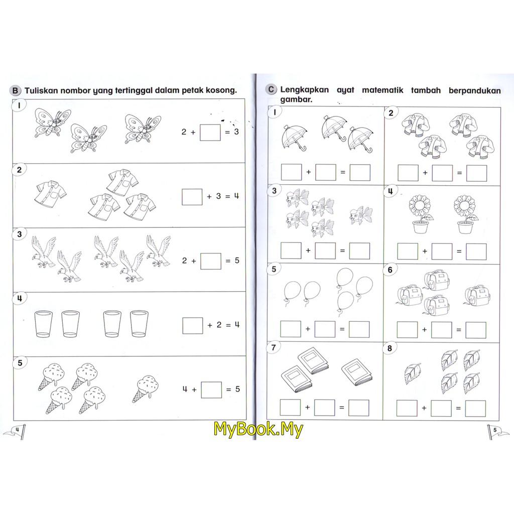 Myb Buku Latihan Mudah Mengira Matematik Untuk Prasekolah Tambah Tolak 4 5 Tahun Mind To Mind Shopee Singapore