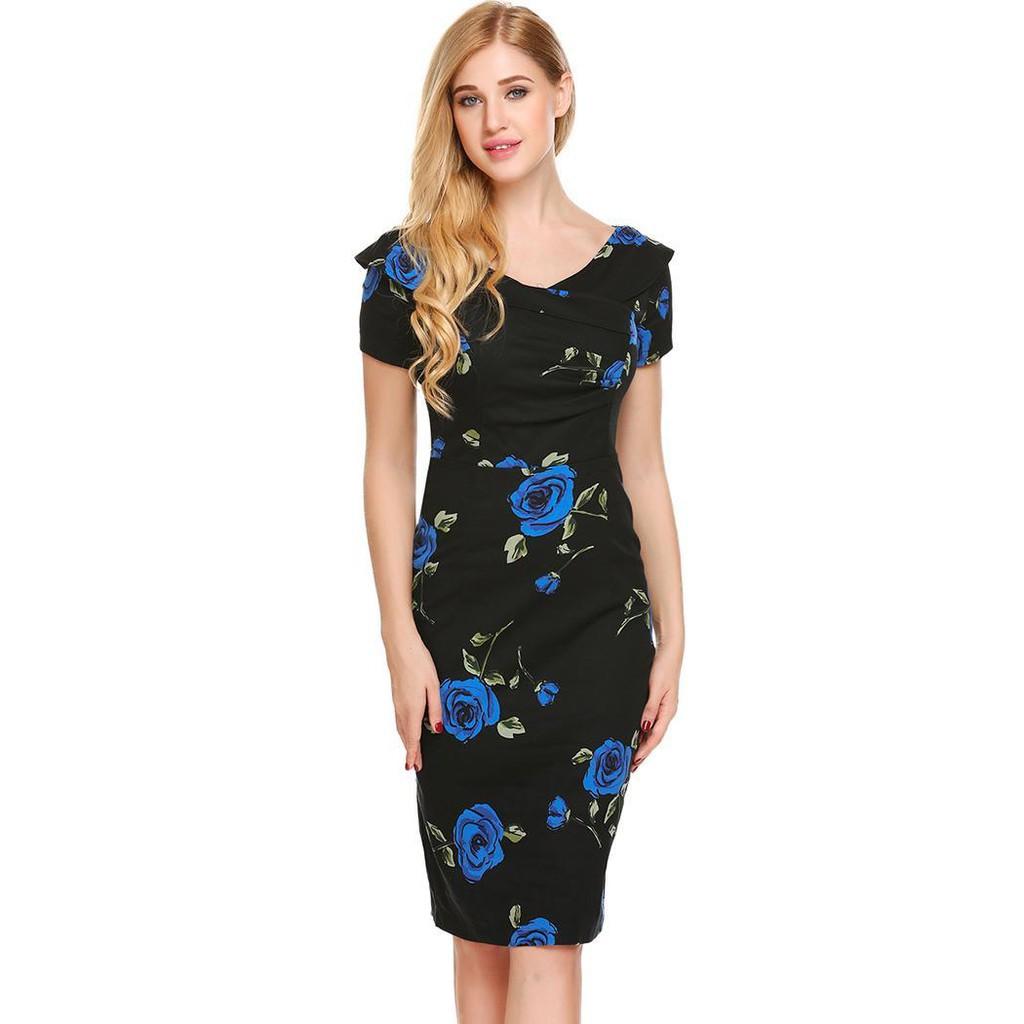 8837e484554dc Women Casual Boat Neck Short Sleeve Prints Ruffle Package Hip Bodycon Sexy  Dress