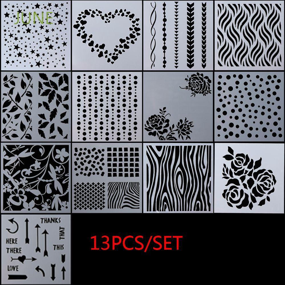 13PCS Embossing Template Scrapbooking Walls Painting Layering Stencils DIY Set