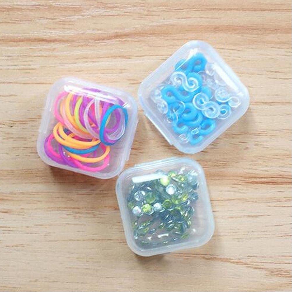 10//20//50Pcs Mini Clear Plastic Small Box Hook Jewelry Earplugs Storage Container