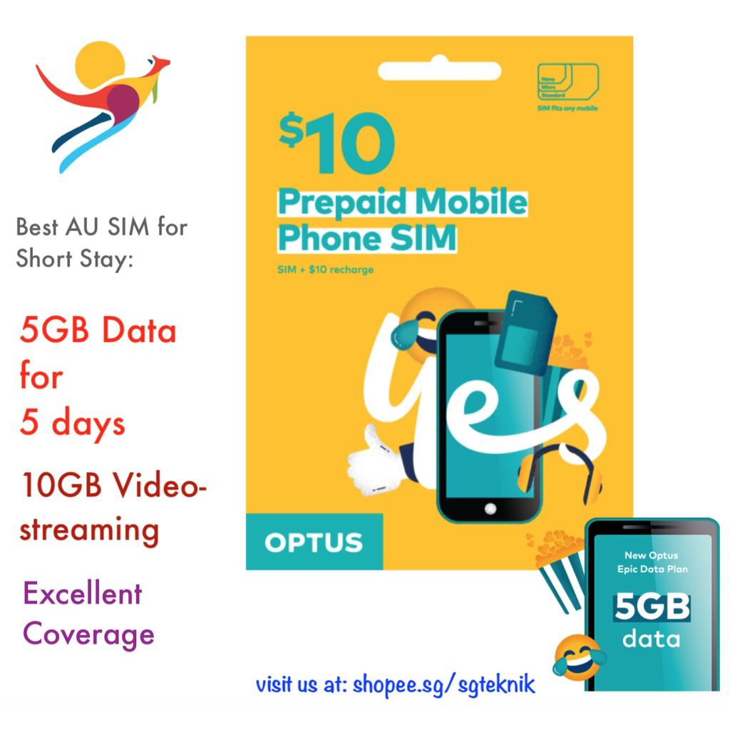 Best 5GB Australia Prepaid Mobile SIM Card Data Call Roam Optus Starter Kit  AUS