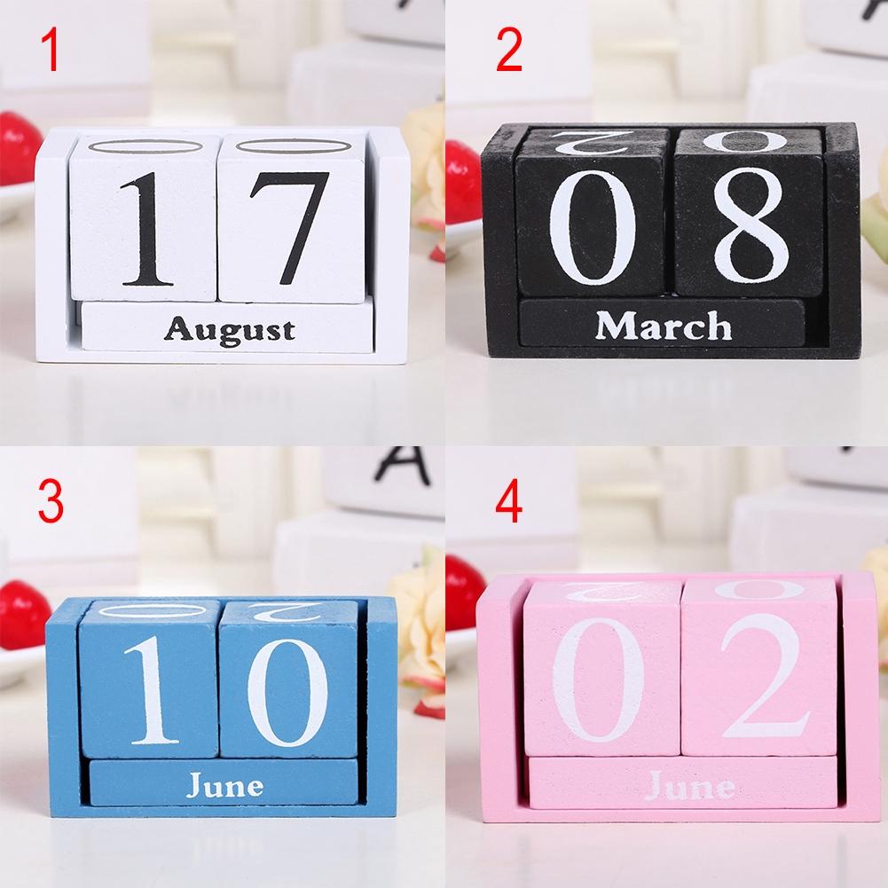 Wooden Calendar Desktop Block Planner Date Display Home Office Decor Cubes