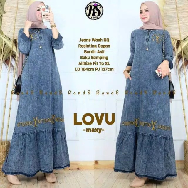 Lovu Maxi Robe Jeans Snow Wash Acid Shopee Singapore
