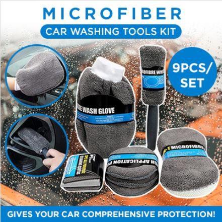 9ps one set Of Car Wash Cleaning Kit Microfiber Car Detailing Washing Tools Kits