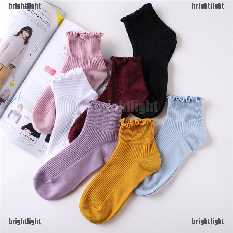 Solid Cotton Lace Ruffles Women Socks Lovely Frilly Edge Princess Girls Socks