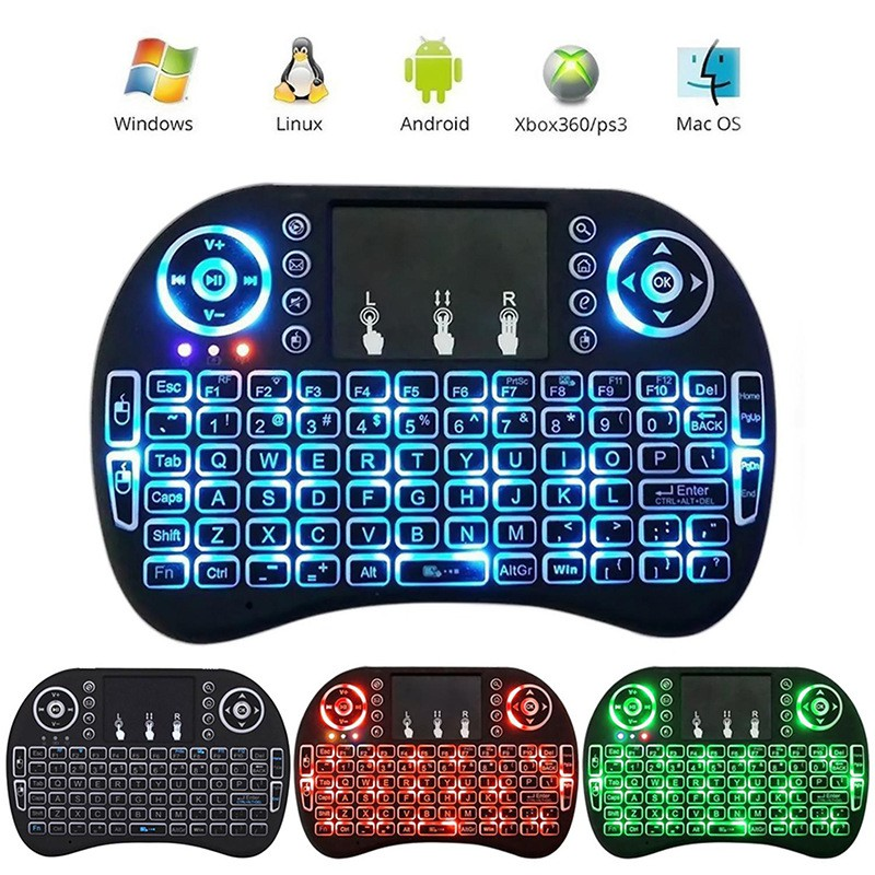 1Pc Mini 3 Colors Backlit i8 2 4GHz Wireless Keyboard Touchpad TV Box  Android PC