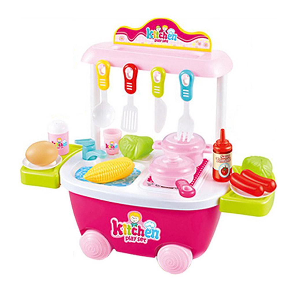 Childrens Playset Toddler Pretend Cooking Kitchen Play Set Kitchen Food Cart