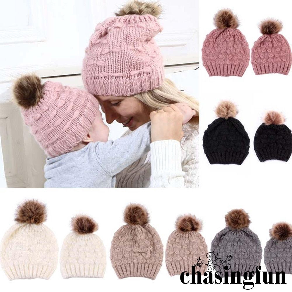 Kids Girls Toddler Casual Winter Snow Knitted Cap Braid Headwear Solid Cover Hat