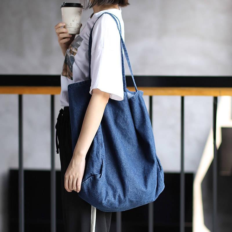 5611268b0b52 Practical ins denim bag bag female literary simple large capacity Japanese  student denim big bag canvas shoulder bag