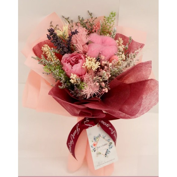 Sg Seller Free Delivery Dried Flower Preserved Pink Rose Flower Bouquet Gift Box Shopee Singapore