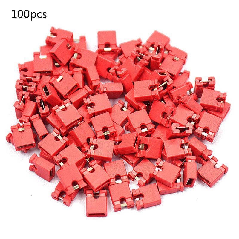 100Pcs Red 2.54mm Jumper Cap mini Jumper Short Circuit Cap Connection NEW  CF