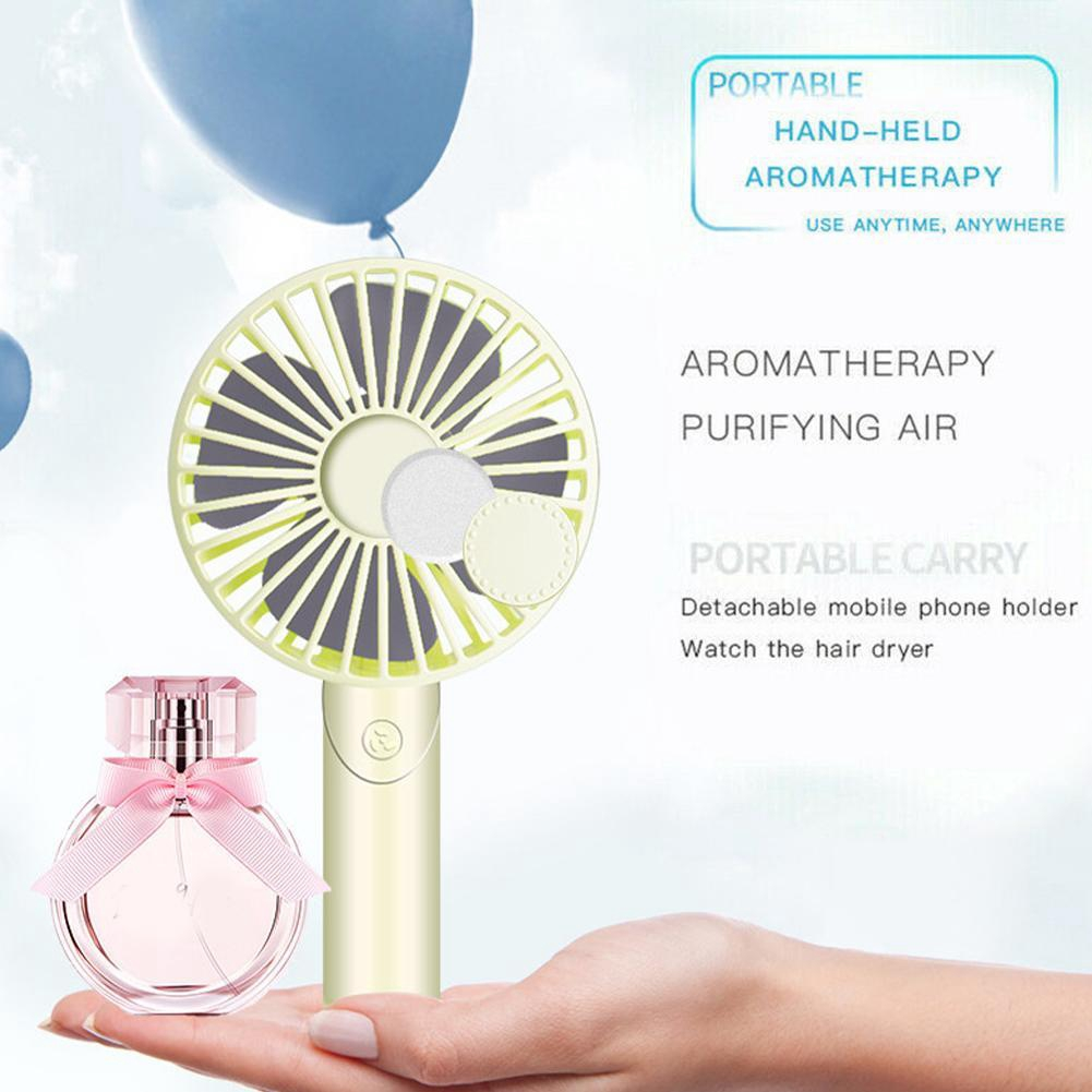 Color : Blue, Size : with Base Air Cooling Fan Mini Portable Fan 1200mAh USB Rechargeable 3 Speed Strong Wind Handheld Stand Table Cooling Fan Home Office