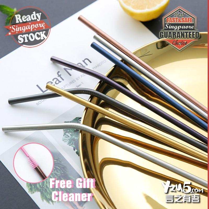 Orderly Stainless Steel Drinking Straws Reusable Metal Drinks Straw Utensils Kitchen,dining & Bar Cleaner Brush Kit