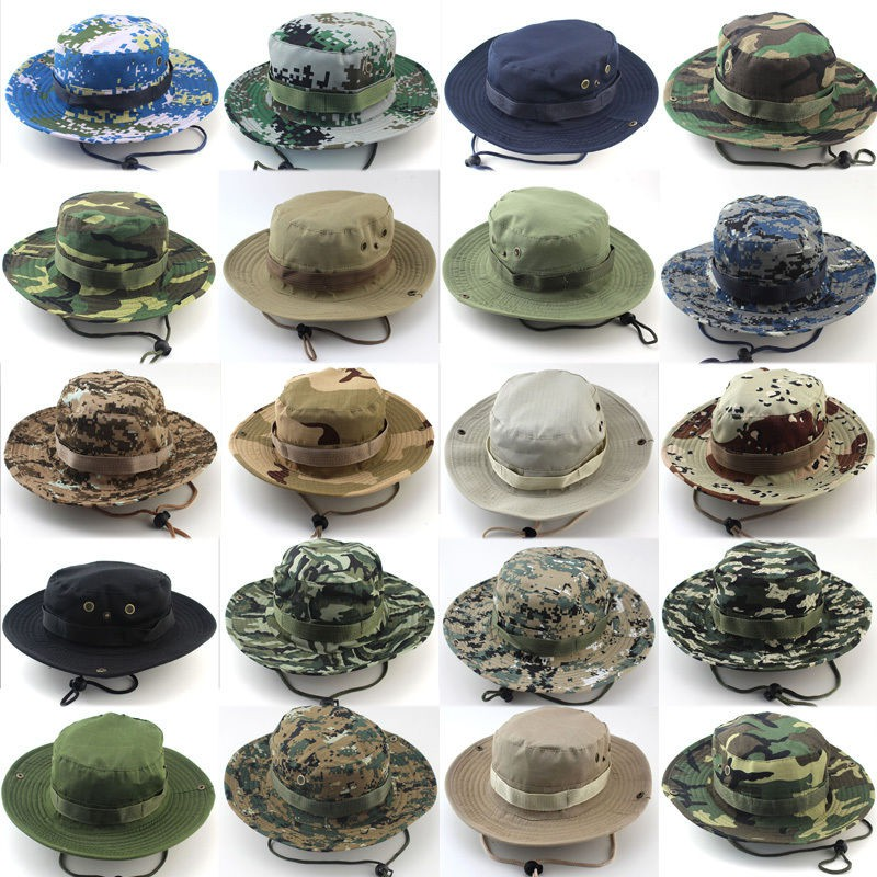 Camouflage Bucket Sun Hat Boonie Hunting Fishing Army Outdoor Wide Brim Cap