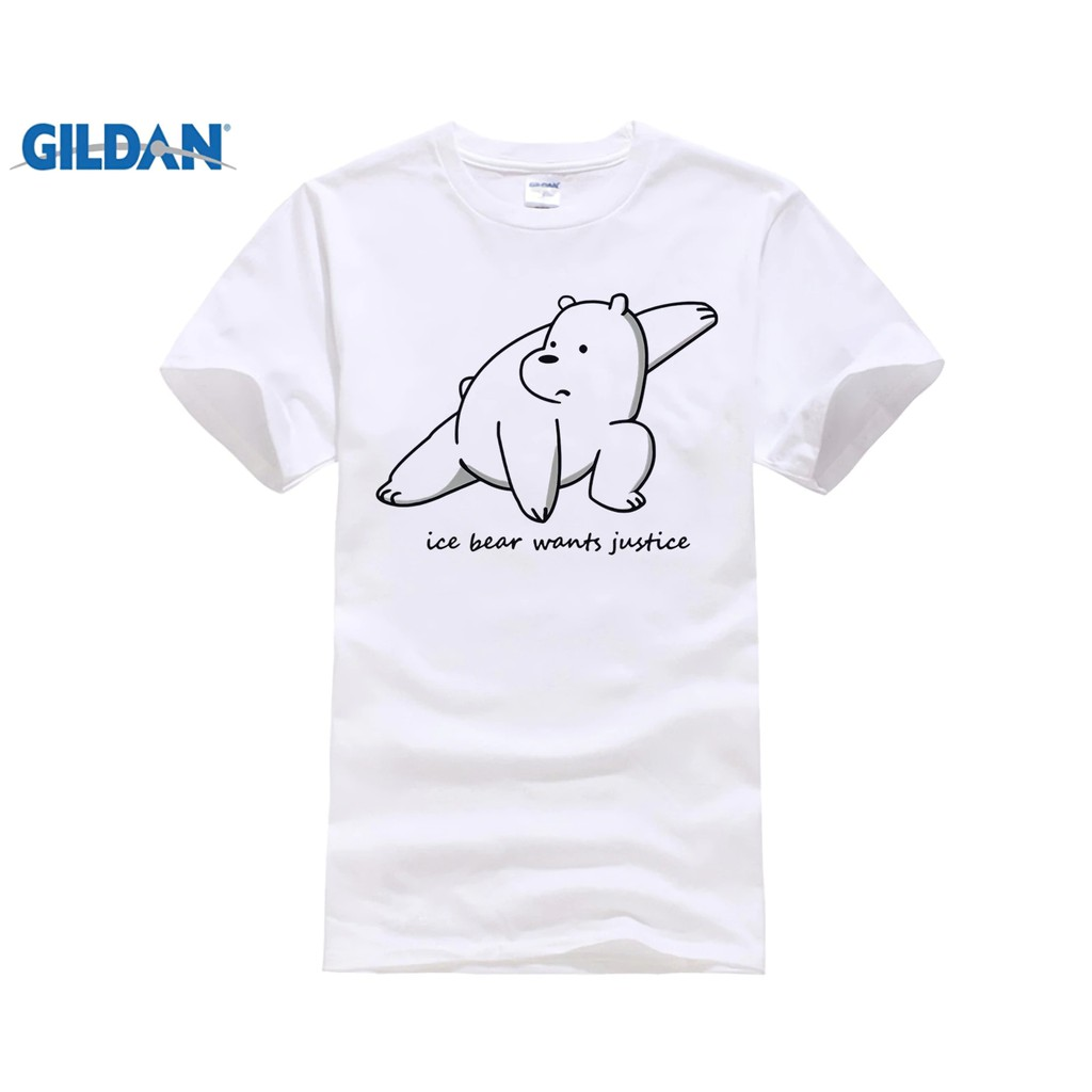 f24778c2bc7 Diy We Bare Bears Ice Bear Wants Justice Tee men DIY T-Shirt summer Grey
