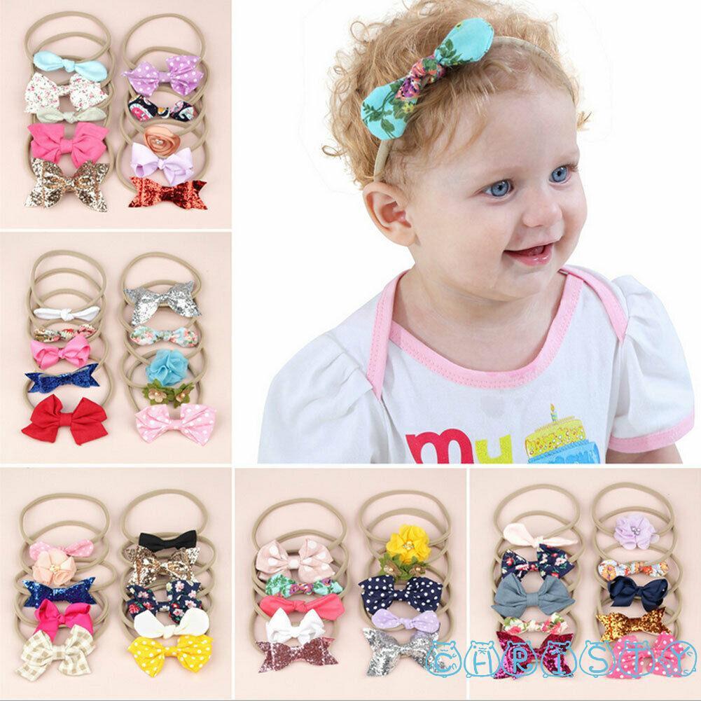10Pcs Nylon Elastic Headband Baby Girls Women Kids Hairband Hair Accessories