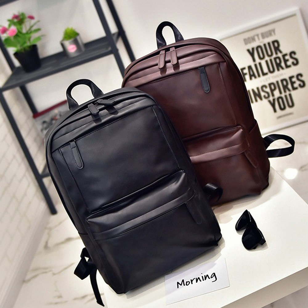 1d59265345c4 Men s Women s Leather Backpack Laptop Satchel Travel School Rucksack Bag