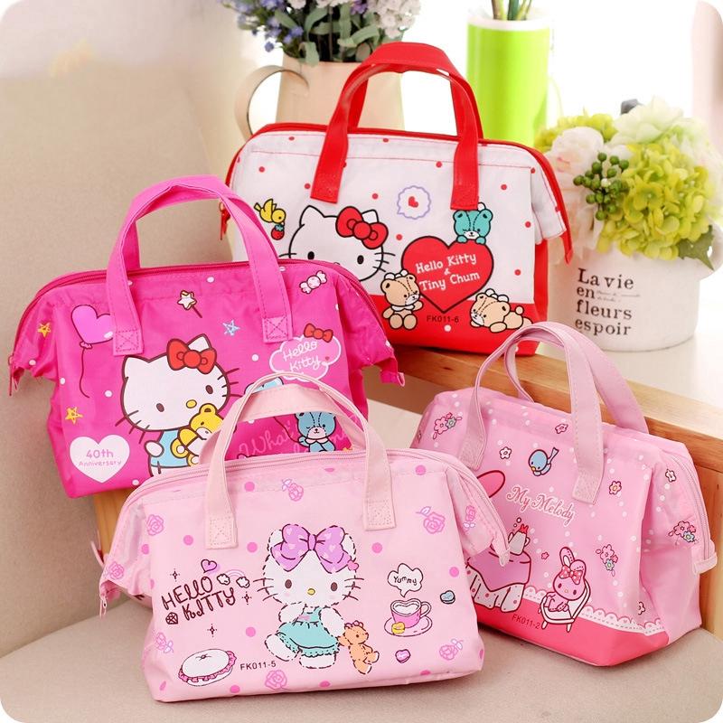 3e89da10e0 Portable Lunch Bag Cartoon Hello Kitty Insulated Cooler Bags Picnic Lunch  Bags