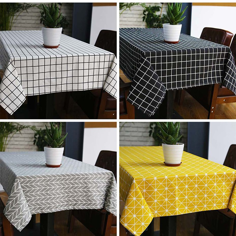 Linen Table Cloth Plaid Rectangle Table Cover Tablecloth Home Kitchen Decoration