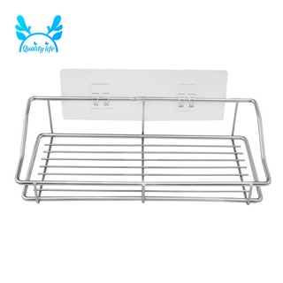 Bathroom Shelf Organizer Storage Kitchen Rack With Traceless Adhesive No Drilling Stainless Steel