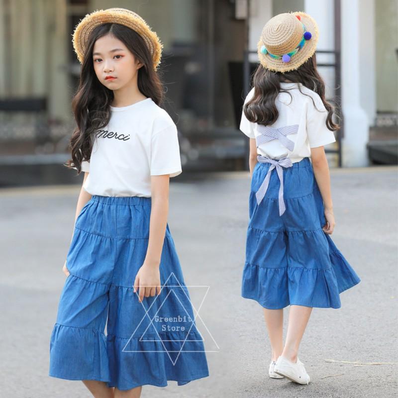 1 Set 7 15 Years Old Girls Clothing Kids Fashion Loose Long Pants Korean Style Shopee Singapore