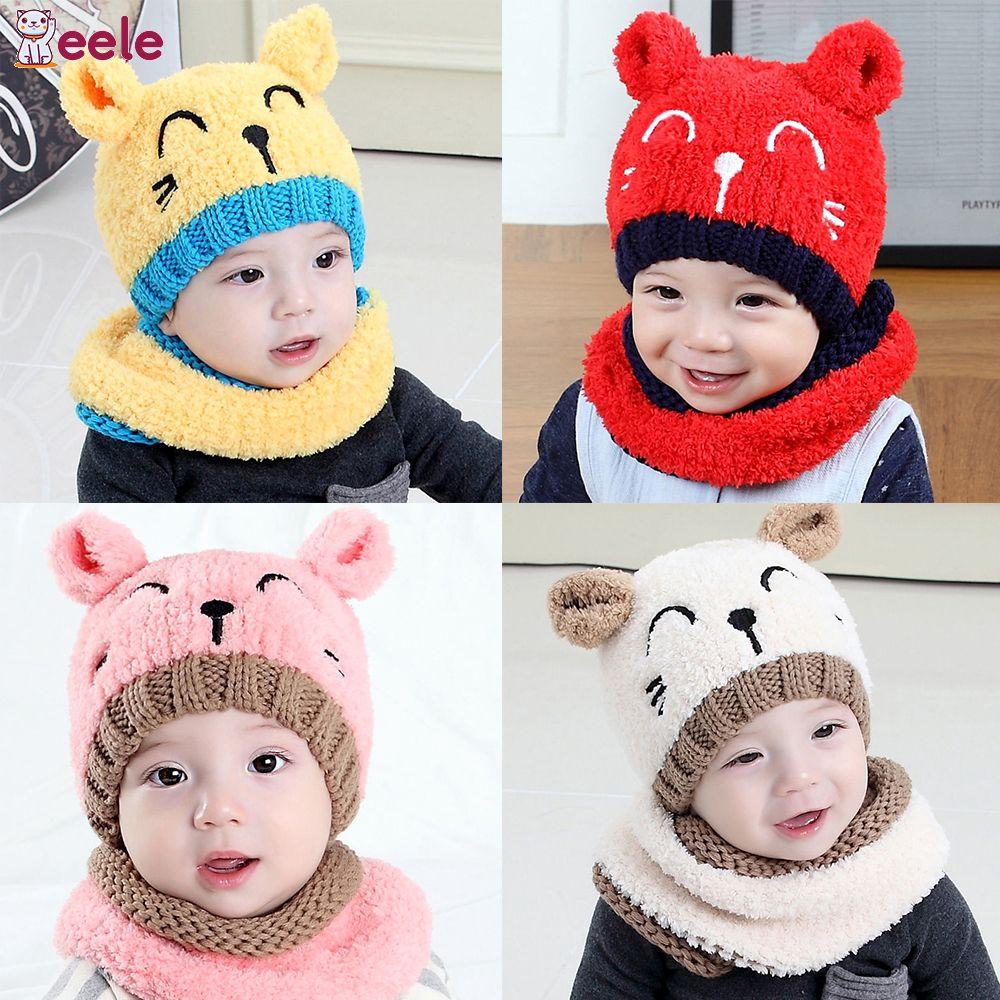 67f8718d886 EELE Fashion cute children wool cap cartoon warm knitted earmuffs wool cap