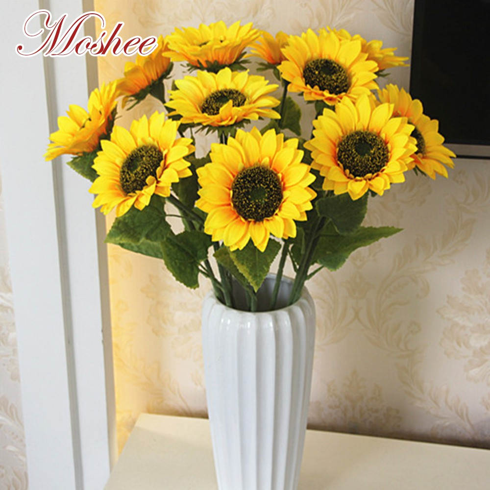 1 Bouquet 7 Heads Artificial Sunflower Dried Flowers Bouquet Large Sun Flower Home Garden Decor Shopee Singapore