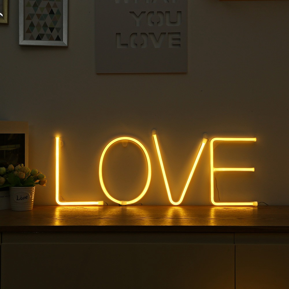 New Led Neon Night Light Sign 26 Letters Aa Battery Powered Diy Light For Decorate Room Neon Light Home Party Club Bar