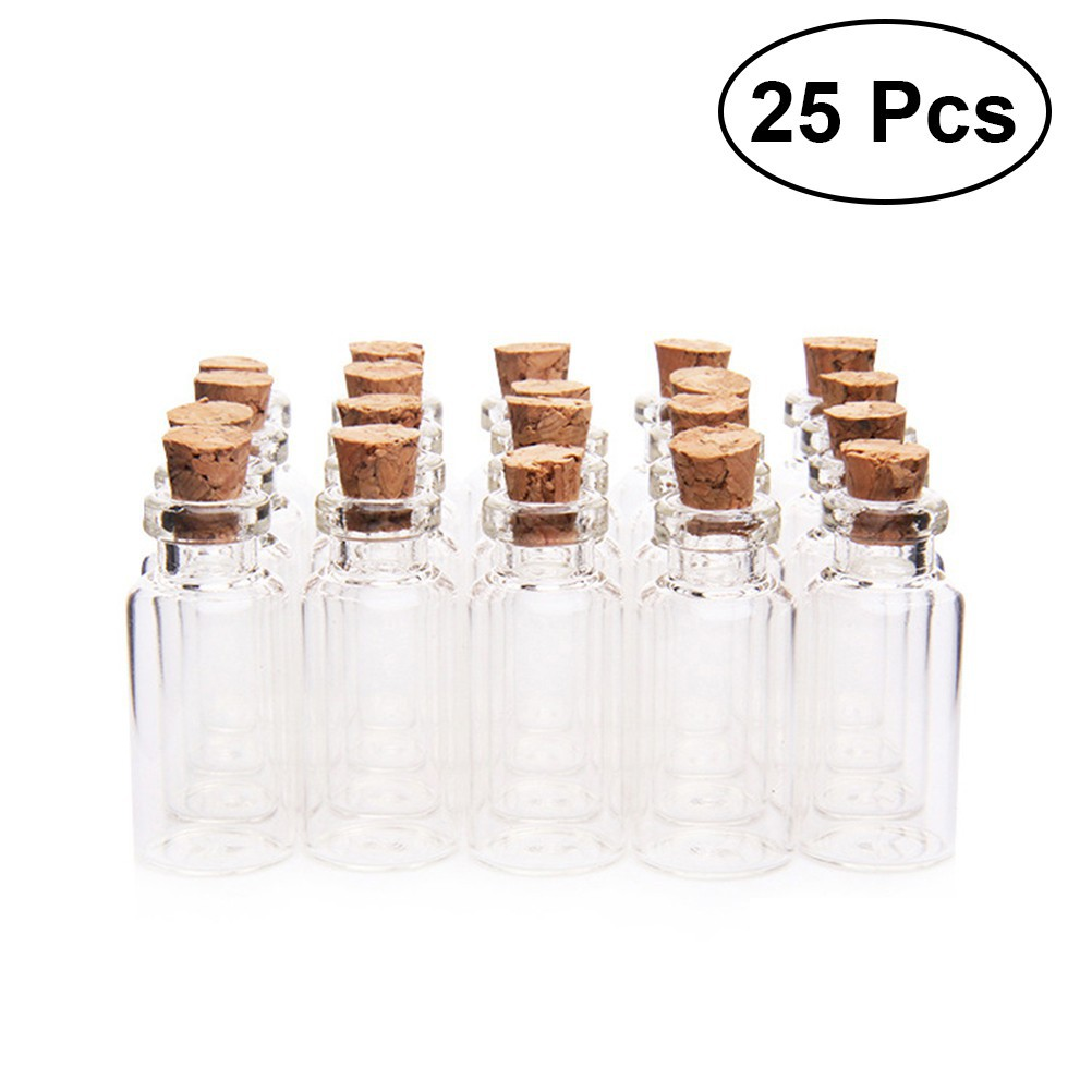 a872766275e8 25x Clear Mini Glass Jars with Cork Stoppers DIY Wish Bottles