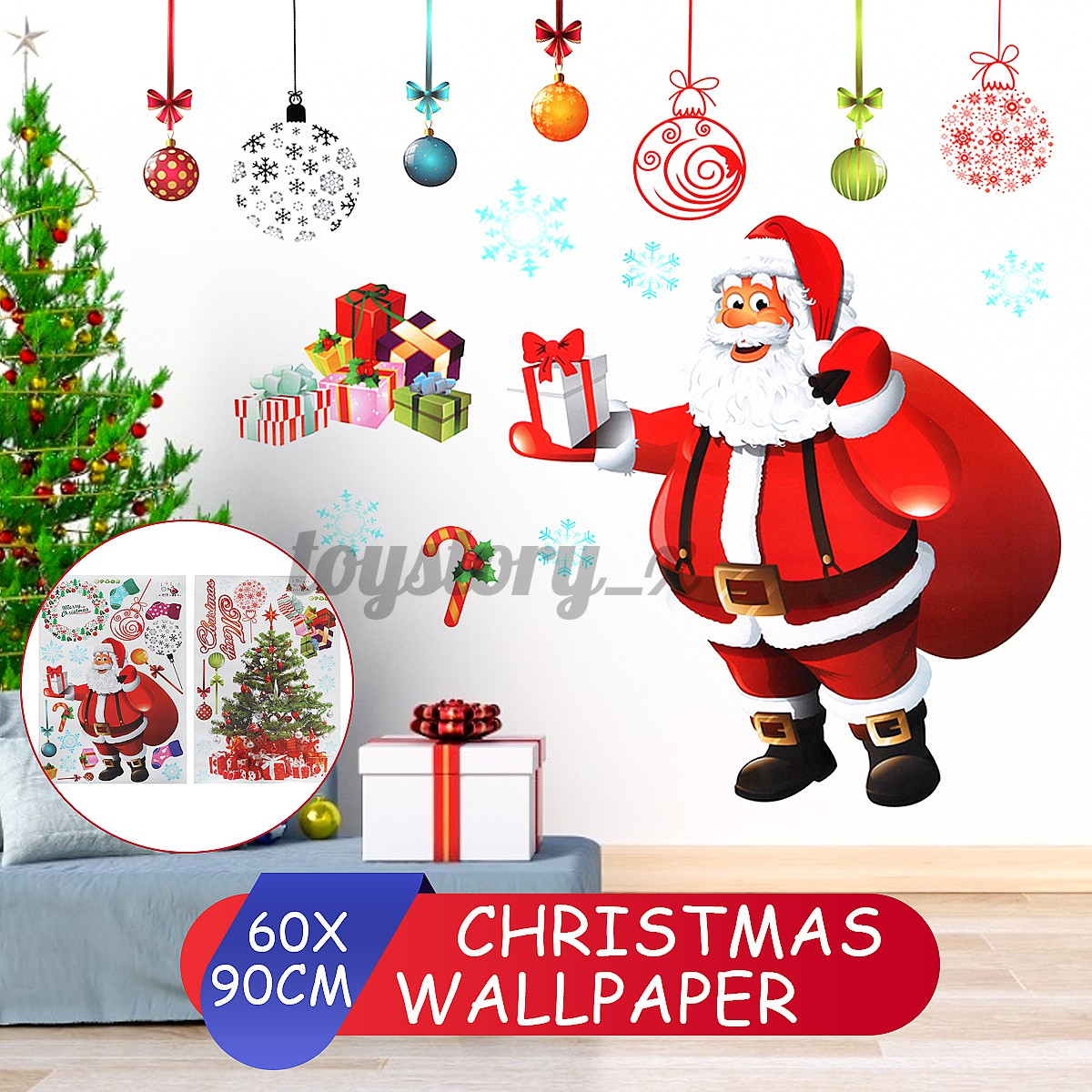 2pcs 90cmx60cm 10cmx5cm Christmas Santa Claus Wall Wallpaper Sticker Decor Kids Arts Decal Bedroom Gifts Colorful Christmas Tree Sticker Window Home Decoration Shopee Singapore