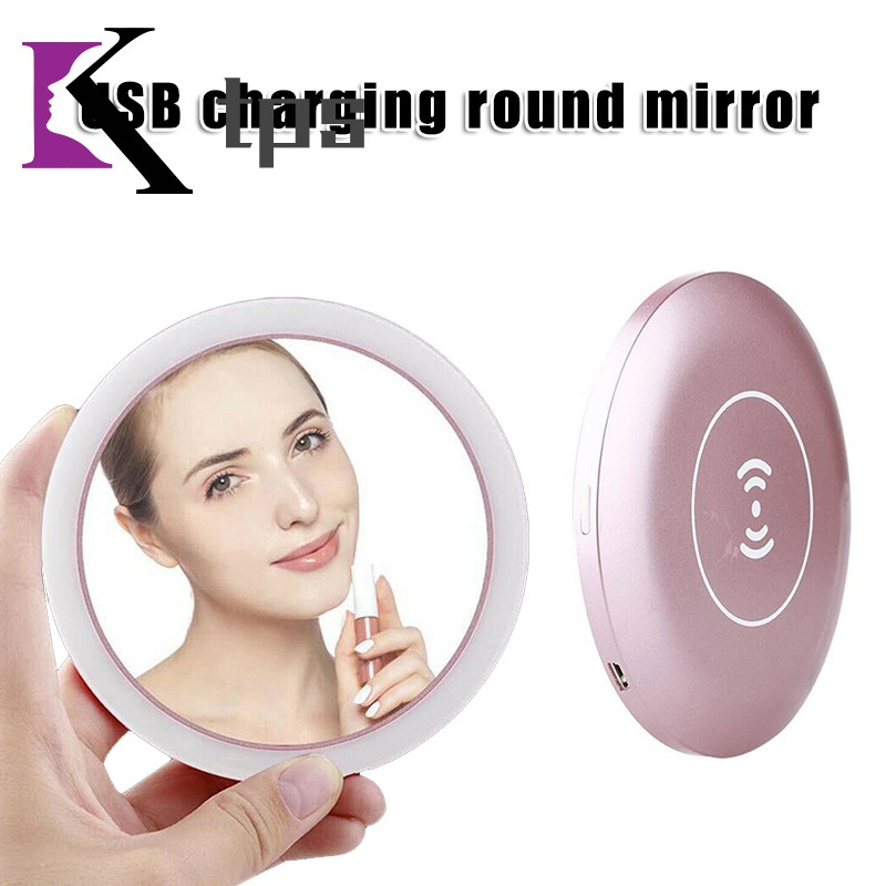 Mini Portable Round Makeup Mirror USB Charging LED Sensing