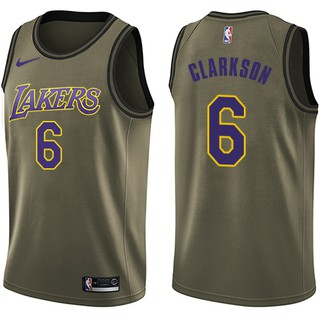 info for fc5d0 87145 Nice Nike Lakers #6 Jordan Clarkson Green Salute to Service ...