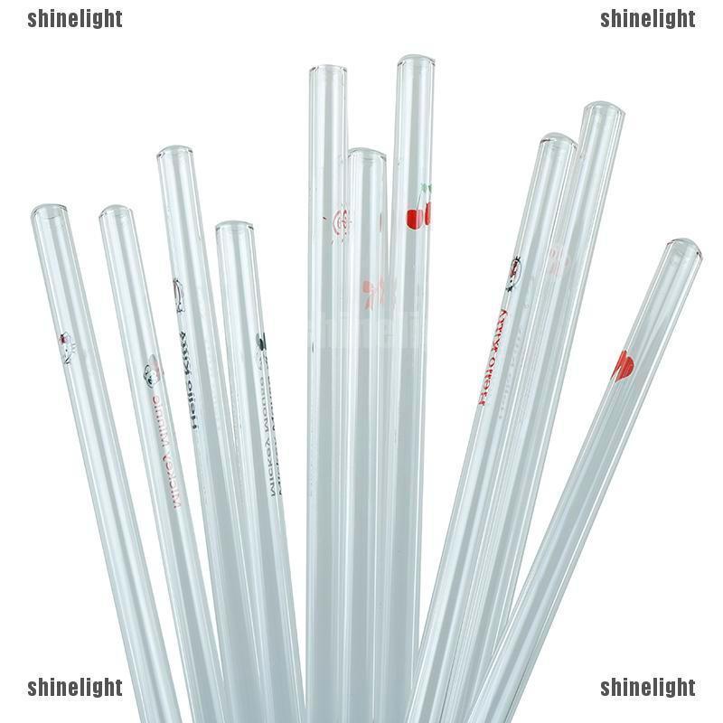 4pcs Bent Glass Tube Drinking Straw Sucker Terrarium with 1pc Cleaning Brush