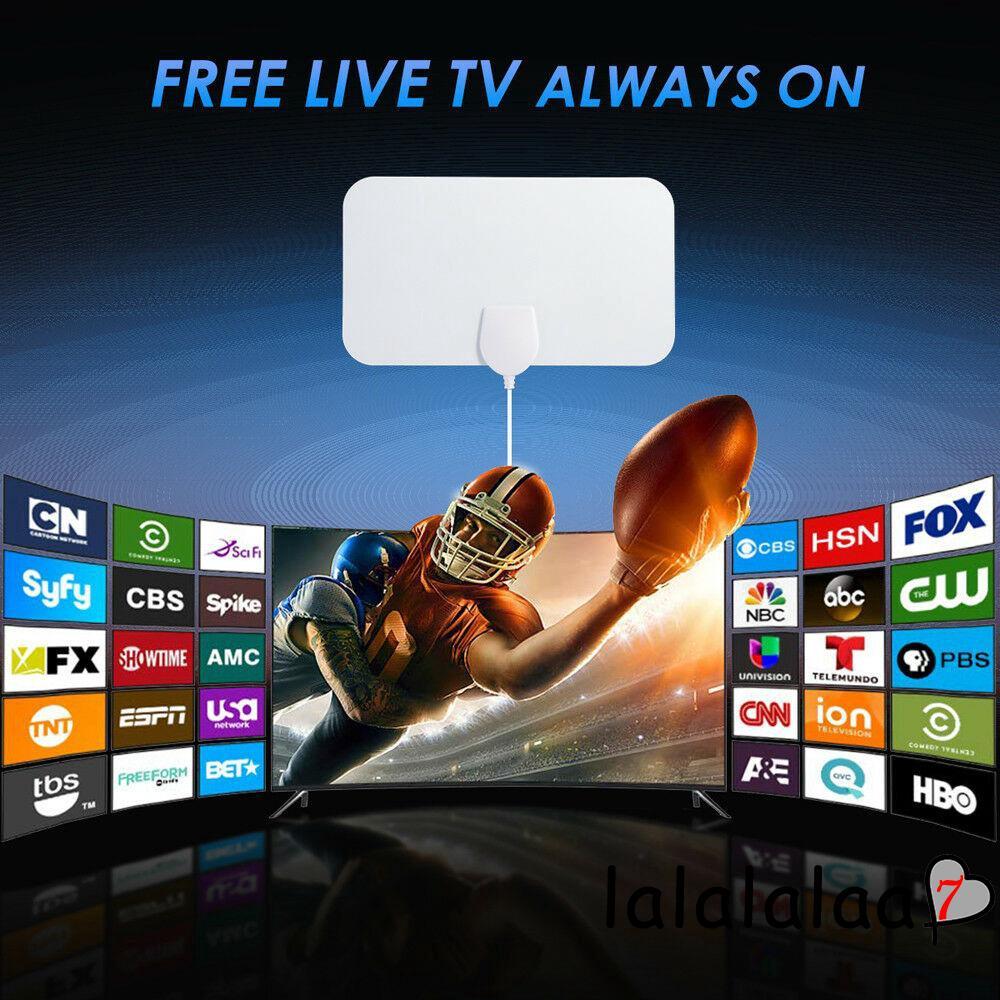1080P 4K Antenna Digital HDTV Amplified Mile Ultra Thin 200 Miles Range W//Indoor