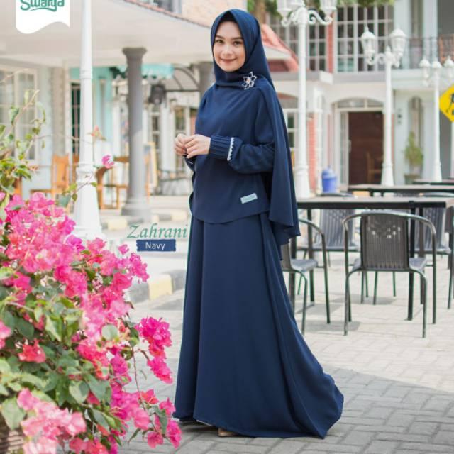 Gamis Zahrani Navi By Swarga Hijab Latest Gamis Gamis Busui Gamis Syari Shopee Singapore