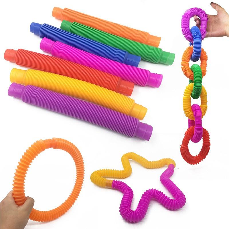 DIY Pop Tube Telescopic Bellows Sensory Fidget Toy Children Decompression Stretch Tubes Educational Toys for Kids