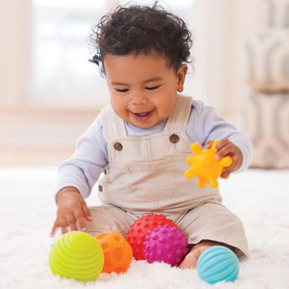 4//6Pcs Baby Soft Massage Sensory Development Educational Puzzle Ball Sound Toy