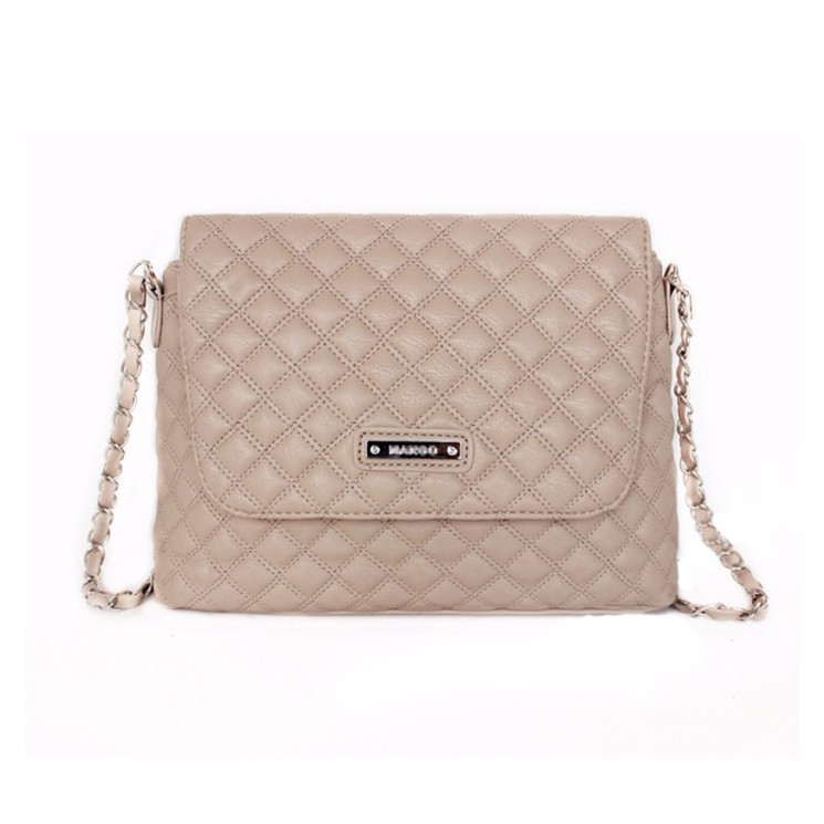 Trendy Quilted Chain Leather Sling Bag Crossbody Handbag Beige ... 72c15caf4a10c