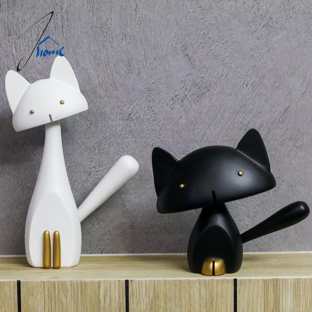 Cute Black And White Cat Figurine Home Decoration Shopee Singapore