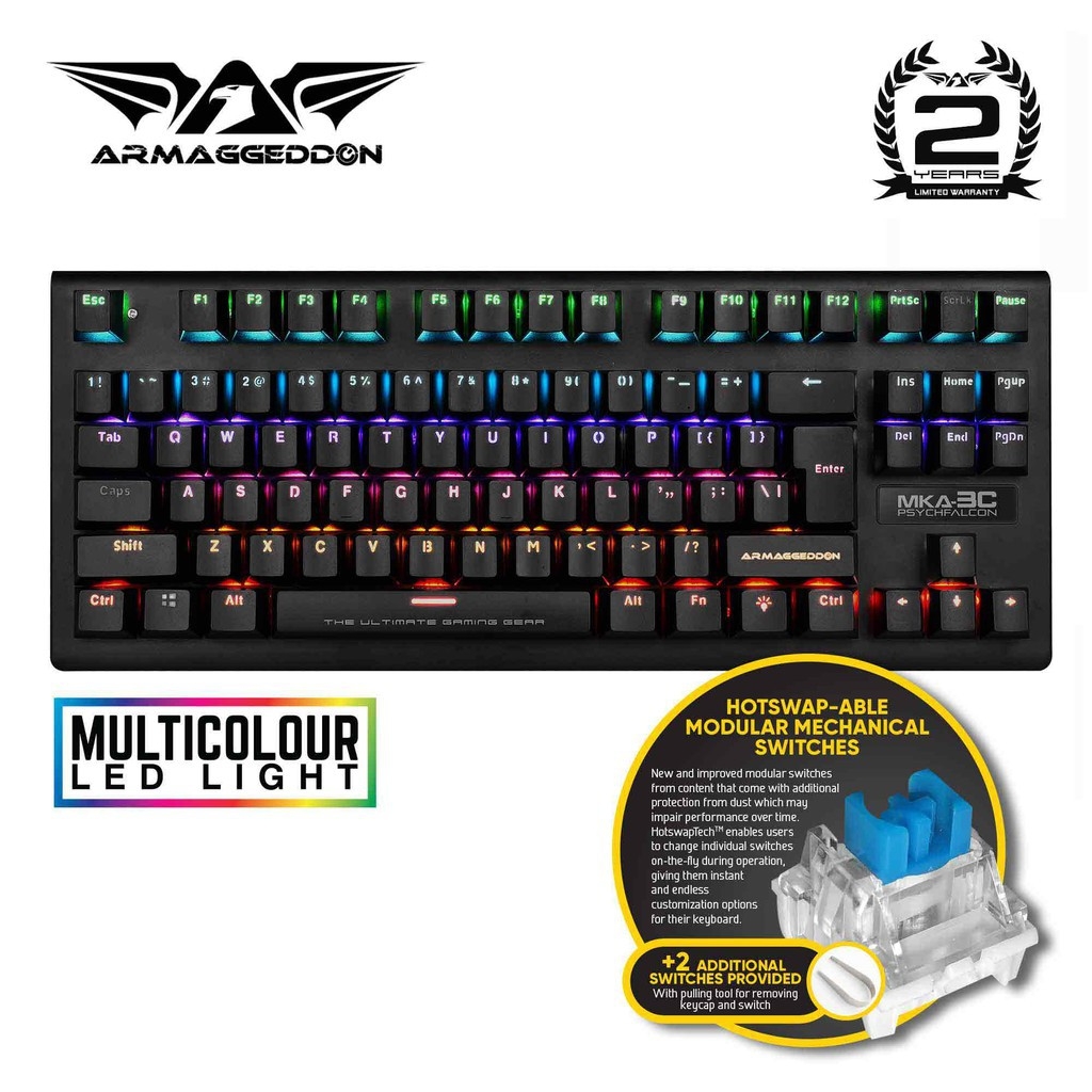 Armaggeddon MKA-3C PsychFalcon Blue Switch Mechanical Gaming Keyboard |  Shopee Singapore