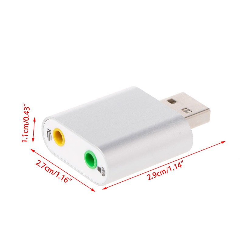 Adapter Sound Card 7.1 USB Aluminum External 2.0 Audio Channel Stereo For MacOS