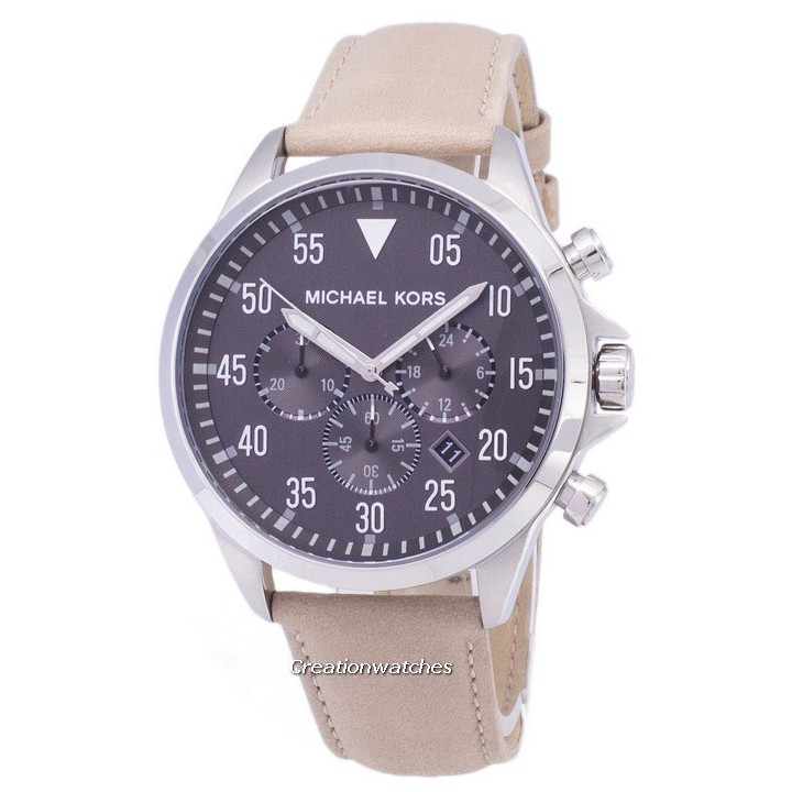 0d131f0a3a43 Michael Kors Gage Chronograph Blue Dial Brown Leather Mens Watch MK8362